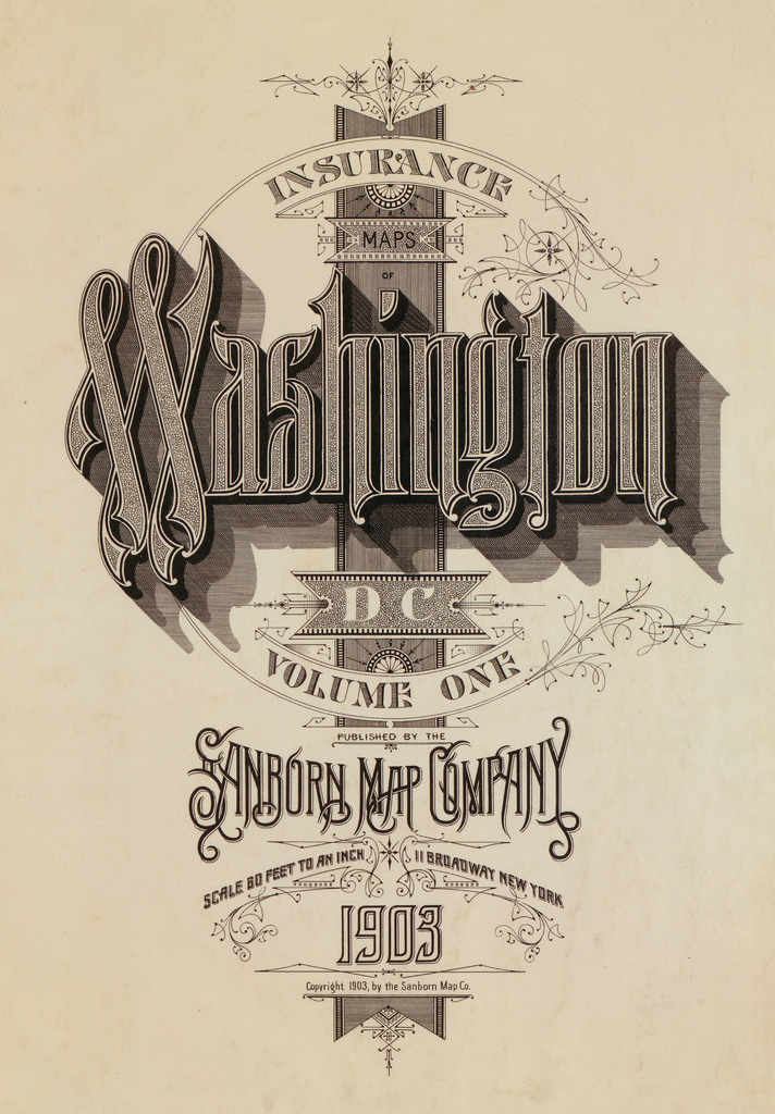 causechickslovestuff:  fire insurance map typography   Old-timey SWAG.
