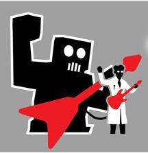 A scientist, a giant robot, and two guitars. On a t-shirt. If anyone is feeling generous, my birthday is coming up…