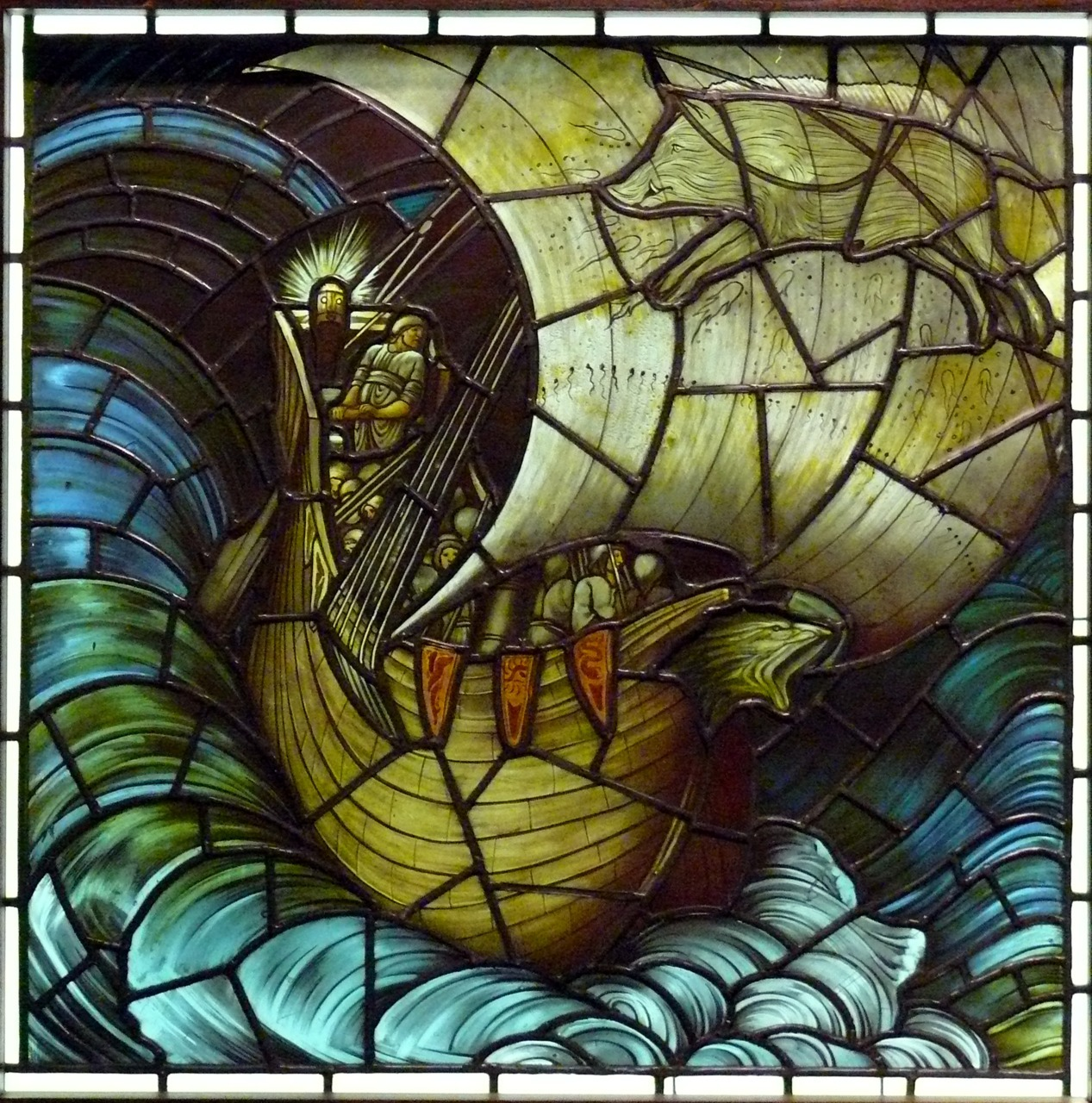 Viking ship in stained glass by Edward Burne-Jones, 1883
