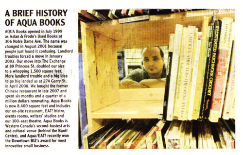 A Brief History of Aqua Books (Winnipeg Free Press Sunday tabloid On7, 2.20.11)