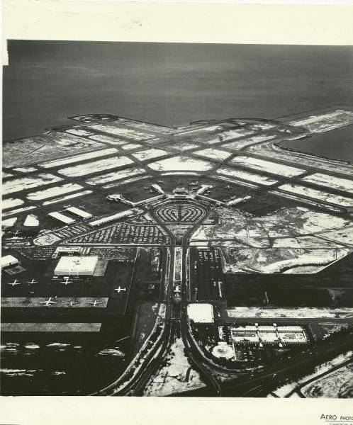 San Francisco Airport on 21 January 1962, one of the rare occasions the city has snow. via the SF Gate snow photo special: The aerial photo over San Francisco Airport is amazing to me, but not just because of the snow. I had never seen the airport before the spiral Escher painting of a parking garage was installed.