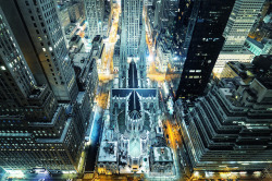 skibinskipedia:  St. Patrick's Cathedral from Above at Night, New York City, by Andrew Mace.