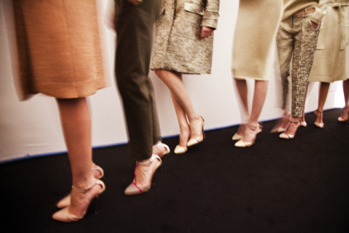 Shoes backstage at No 21 show during Milan fashion week