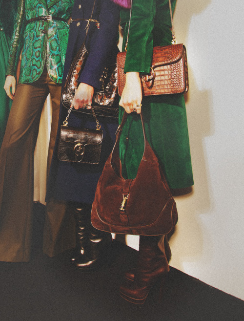 Gucci boots and hand bags backstage at Milan Fashion during the Autumn/Winter 2011 Collections. Loving the two bags per model here.