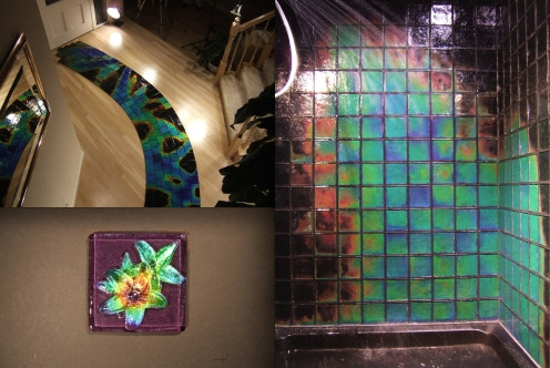 Line your bathroom with tiles that react to heat like a mood ring! These temperature sensitive glass tiles go wild in a hot shower or when washing dishes. They even make awesome floor tiles that respond to bare feet.  Shut the fuck up. I would lock myself in my shower with a bag of drugs for a day or two.