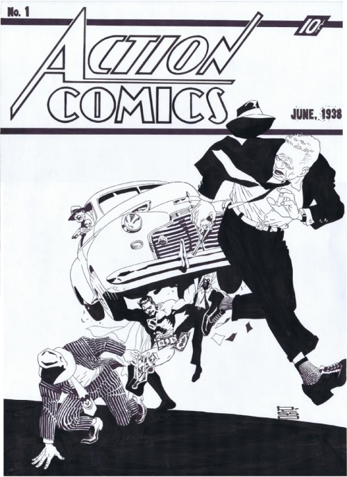 The original's a classic, but this Eduardo Risso version? So good. heyoscarwilde:  Reinterpretation of Action Comics #1 by Eduardo Risso ::  comicartfans.com