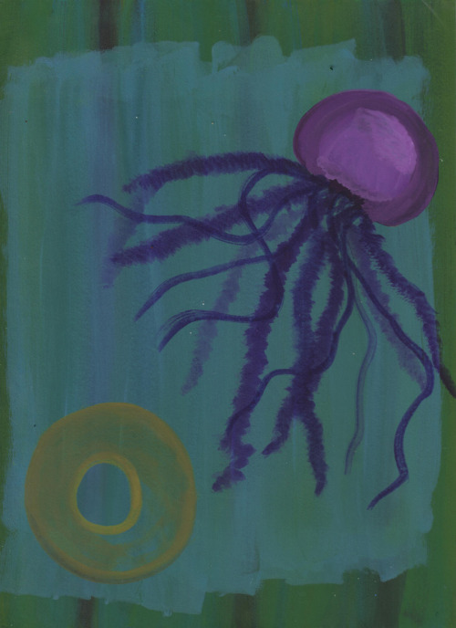 "Jellyfish watercolor piece - one of four in my ""uh-oh underwater"" series"