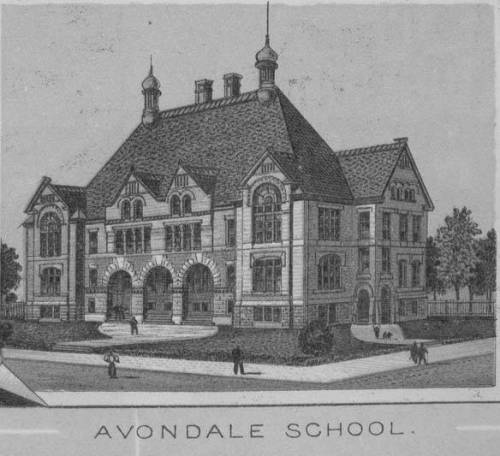Columbus, Ohio: Avondale Elementary School opened in 1893 at 196 Avondale. It is still operational and recently reopened after a major renovation. (Shown during renovation)