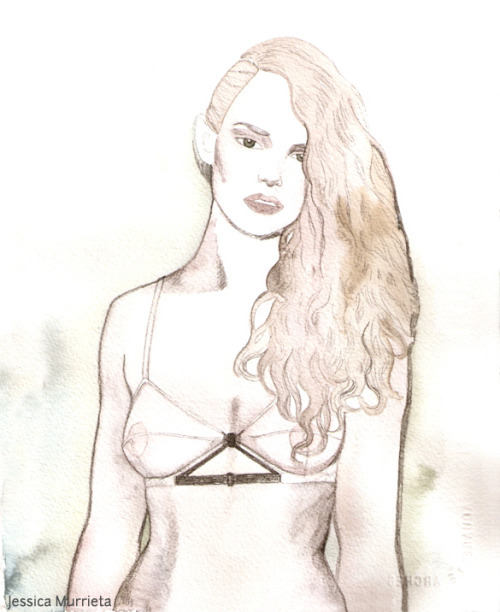 Jean Yu triangle bra watercolor and pencil