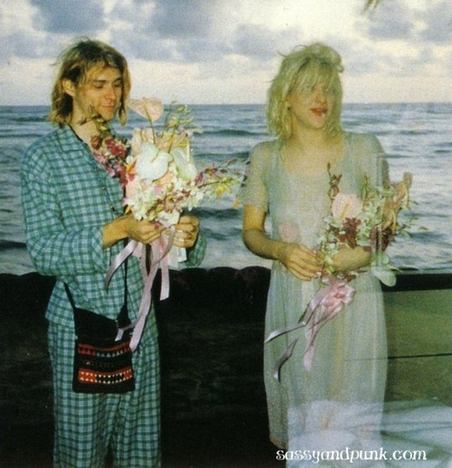Love and Cobain officially began dating in 1991, and were married on Waikiki Beach in Honolulu, Hawaii, on February 24, 1992. Love wore a satin and lace dress once owned by actress Frances Farmer, and Cobain wore green pajamas. Six months later, on August 18, the couple's only child, a daughter named Frances Bean, was born.