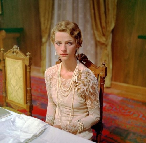 the lace, the pearls, that feather (?) corsage!  sublime. still from la caduta degli dei (the damned), luchino visconti, 1969