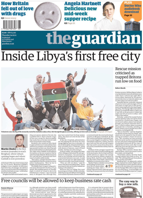 frontpages: Libya rescue mission criticised by trapped Britons Free councils to keep bulk of cash raised through business rates Inside Libya's first free city: jubilation fails to hide deep wounds