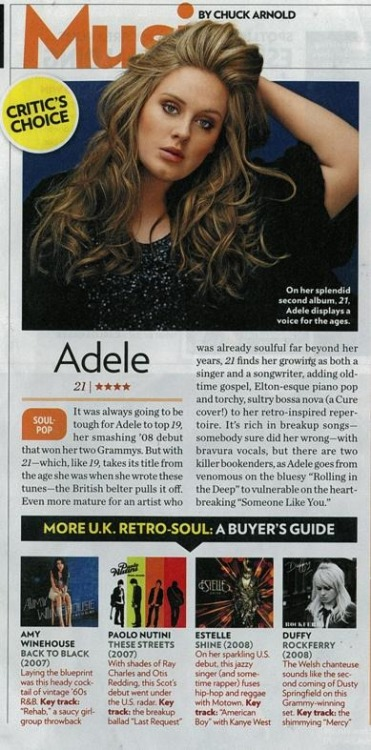 Adele is the Critic's Choice in this week's People Magazine — 4 stars!