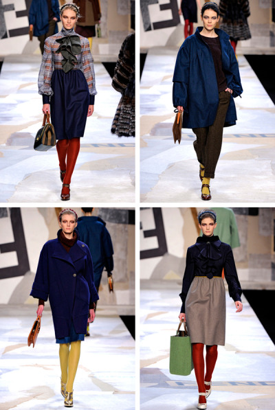 fendi fall 2011. never before have i found myself saying that i was really into a fendi show, but i guess things change! i suppose more than anything, it was the styling and the colors that i appreciated. and i'm a sucker for a ruffled ascot!