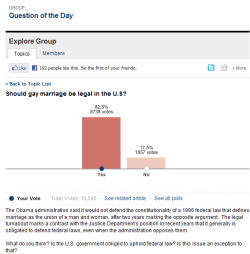 Update on the Wall Street Journal's same-sex marriage poll - 2/24/11 (click through photo to vote)