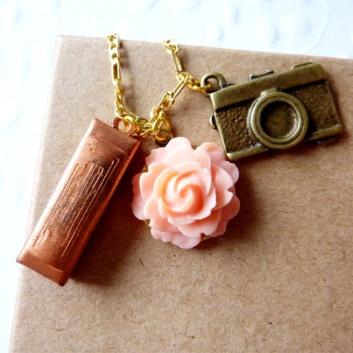 Pink Rose with Antique Brass Camera and Vintage Copper Harmonica Charm Necklace via Katheyl