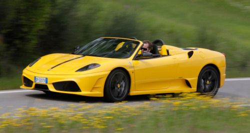 2010 Ferrari 16M Scuderia Spider With the 4.3-liter V-8 making 510 bhp at 8500 rpm and 347 lb.-ft. of torque at 5250 rpm, channeled through a 6-speed F1-Superfast2 gearbox that spits out shifts in just 60 milliseconds, 62 mph comes in a claimed 3.7 seconds. Top speed is 196 mph, at which point it is probably quite breezy in the cockpit.