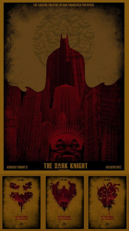 The Dark Knight Silk Screen Posters by David O'Daniel Outstanding work that man. Devil is in the details much. Click through on the picture to enbiggen, then lean back and take a look at what's revealed.