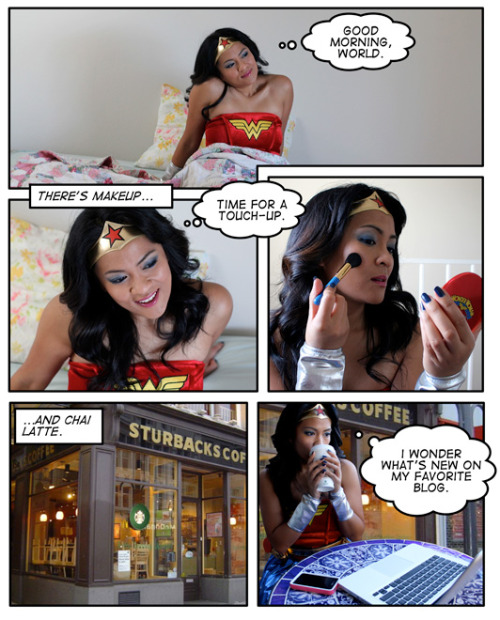 This is adorable: a comic of the new Wonder Woman for MAC polish & makeup, from Makeup & Beauty Blog. Read the whole thing here.