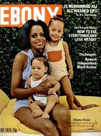 vintageblackglamour:  Diana Ross on the July 1973 cover of Ebony with daughters Tracee and Rhonda.  Look at baby Tracee!