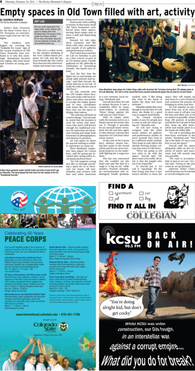 Thursday, February 24, 2011. The Rocky    Mountain Collegian main verve page. Page designed by Managing Editor Jim Sojourner.   Today's Verve: 1. Empty spaces in Old Town filled with art, activity
