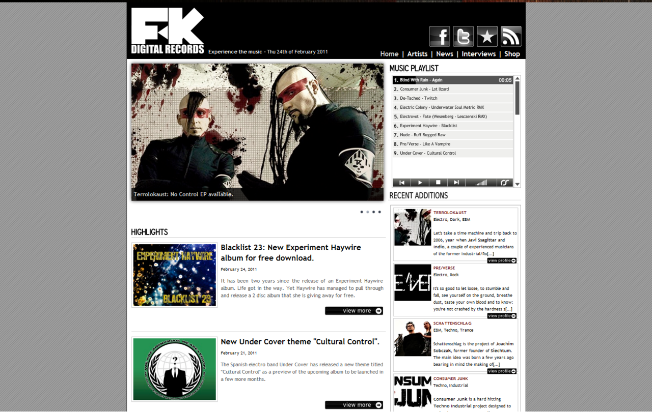 "February 24, 2011 - FK Digital Records gives recognition to Desolate Designs on the new Album for Experiment Haywire entitled ""Blacklist 23"" http://www.fkdigitalrecords.com/"