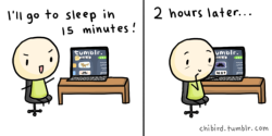chibird:  1 AM: Losing an hour of sleep couldn't hurt. 2 AM: Just a few more minutes. 3 AM: I feel like I'm forgetting to do something. XD In reality, I get a lot of sleep. I just can't function without it.