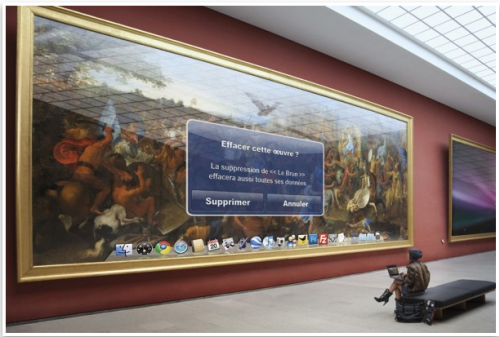 How the Musée du Louvre might use Apple UI for showcasing art. (Photographer: Leo Caillard.)