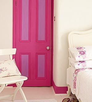 shut the front door: bright pink door with contrasting white walls and furniture{via dress your home}