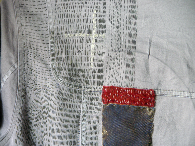 Grey shirt (work in progress) by Christine Mauersberger Recycled cotton shirt, velvet and hand stitching