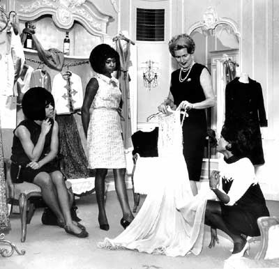 Diana Ross, Florence Ballard and Mary Wilson during one of their wardrobe fittings in the 1960s.