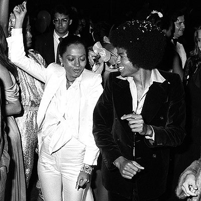 Diana Ross partying with Michael Jackson.