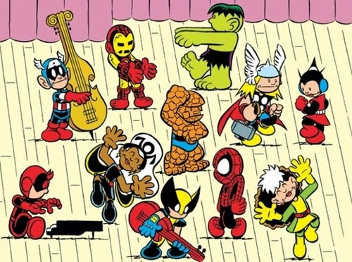 iheartchaos:  Dance like it's Friday: Marvel characters as Peanuts characters By the very talented Chris Giarusso. I can just hear the music that goes with this with no effort whatsoever.  This makes me think of a pup named scooby-doo…Spiderman's dance moves is totally mini-thelma during the music montages.