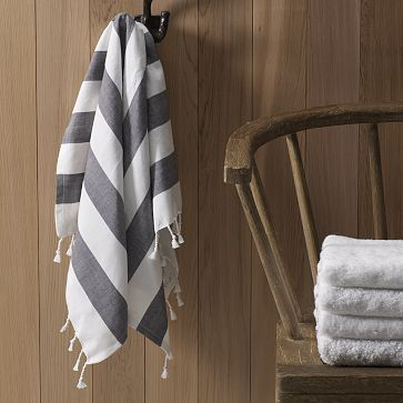 And you can get them monogrammed? Sold. West Elm Hammam Stripe Hand Towel.