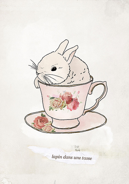 theskeletonofme:  bunny in a cup (by Tabitha Patterson)