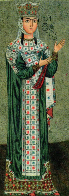 gaglioffo:  Queen Tamar of Georgia (1160 - 1213), Betania Monastery, Tbilisi (19th century restoration of 12th century original)