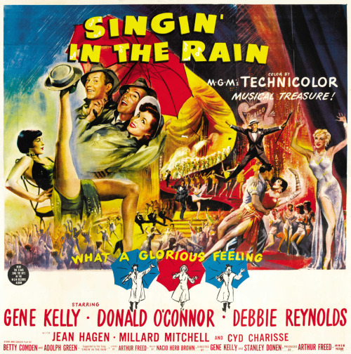 Singin' in the Rain (1952) Classic comedy '50s musical film about Hollywood's change from silent films to 'talkies' in the late '20s. Starring Gene Kelly, Donald O'Connor, and Debbie Reynolds. And in my opinion, the perfect musical. Image Source: Dr. Macro's
