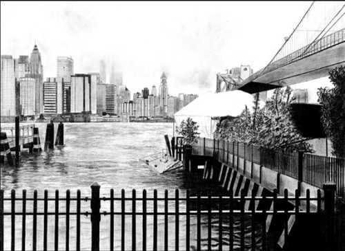 New York City Skyline pencil drawing by StoreAroundTheCorner This is an unbelievable pencil drawing! I thought it was a photograph when I first saw it… so detailed!