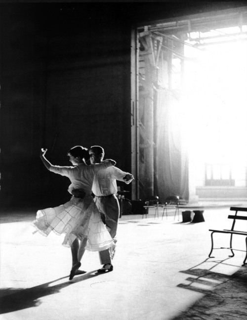 rareaudreyhepburn:  Audrey Hepburn and Fred Astaire rehearse one of their dance routines for the movie Funny Face, 1956.