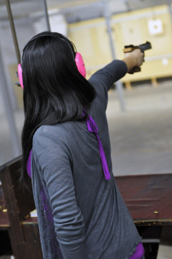 """Girl in Pink""MIT Pistol RangeDuPont Gymnasium, February 25, 2011Photo by: Joseph Lee"