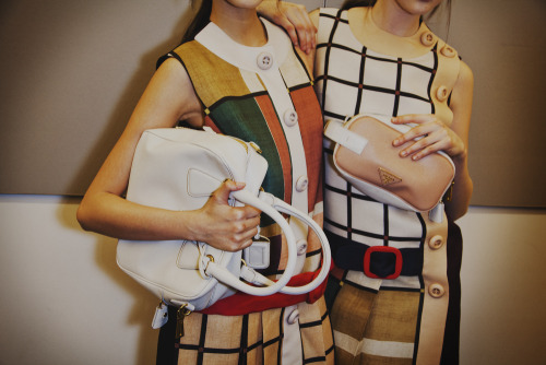 Some vintage loving for those bags backstage at Prada