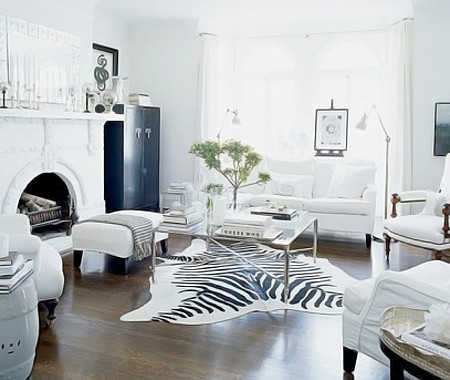 A gorgeous white living room with a fabulous zebra hide rug.  So traditional, yet so chic, modern and cool.  Love chic-ness like this!
