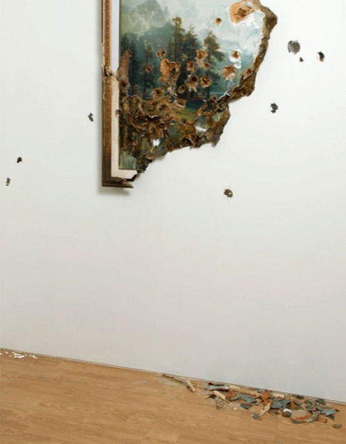 Valerie Hegarty, Bierstadt with Holes (2007)