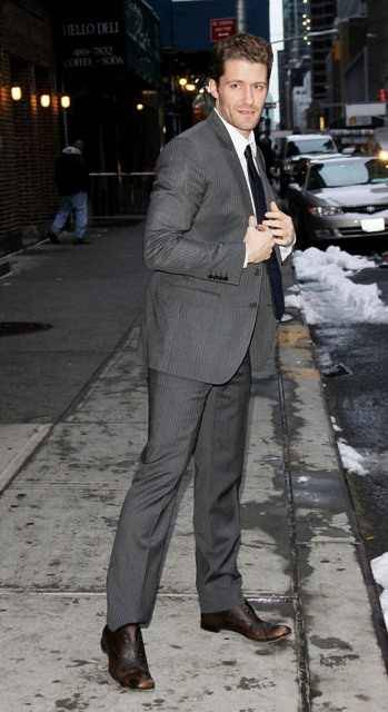 Matthew Morrison in NYC arriving at the studio to tape an appearance on the David Letterman Show.