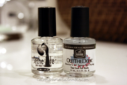 So I'm going to compare these two very popular fast-drying top coats. INM Out the Door:-takes a longer time to dry; it stays sticky 'til it's dry-bubbles appear if it's too thick-a bit streaky-the wear is better-thinner formula-doesn't shrink-about $5 at Sallys, I have no idea how much at other locations.Seche Vite:-amazing shine-dries quickly-gets too thick once the bottle's half empty-shrinks-perfect for coating thick glitter polishes-costs about $8 at certain locations (I get it for much cheaper..if you're in LA/OC I can let you know where) I know everyone has different reviews on these two top coats, but I've always stuck with Seche Vite. The other day, I bought a huge Seche Vite bottle kit that also comes with the regular size just to refill whenever I run out (it was only $15! I Twitpic'd it here). I have two kids, and with all that's going on, I always need my nails to dry faster. When I was using Out the Door, my nails got messed up in a couple minutes. I also saw the streaks & it still felt sticky. I often use glitter polishes & Seche Vite seems to smooth them out perfectly, all with a great shine. However with INM you do save more money, no shrinkage & you do get less wear over a few days. I'll be keeping my INM as back up. What do you think? What's your favorite top coat?