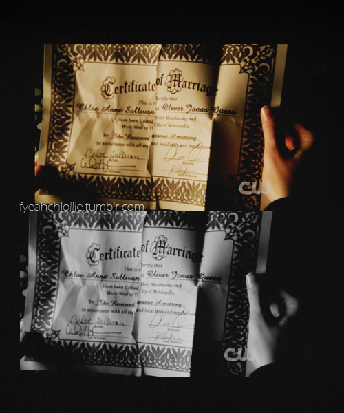 fyeahchlollie:  10.15 Fortune: Oliver/Chloe Marriage Certificate #Smallville #Chlollie