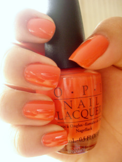 O.P.I - Nicole Alert The is the first time I had ever painted a bright orange colour! And it wasn't too bad it was definitely very bold but also very fun. The colour made me feel happier whenever I looked at it. Haha! veehaha☺