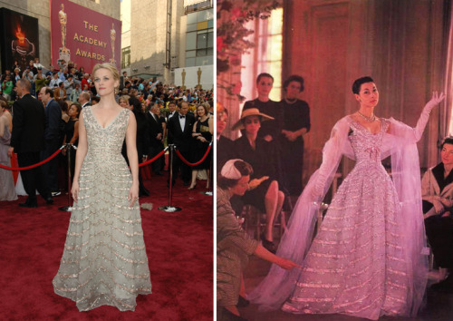 bohemea:  Probably my favourite Oscar gown story is the story of Reese Witherspoon's vintage Dior gown. She found it during a shopping trip in Paris, tried it on & it fit perfectly. The gown, which once belonged to a Princess, is now owned by Witherspoon. Such a romantic story for a gown! Such a stunning gown! Witherspoon has said that while she'll never wear the gown again, that her daughter Ava might one day. Ava's so lucky! She gets to look exactly like Reese Witherspoon & inherit her vintage Dior!