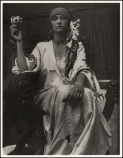 oldblackandwhitephotos:  Alphonse Mucha, world renowned for his Art Nouveau graphics, used photographs of models for much of his reference material. But sometimes the photographs themselves were beautiful and had that Mucha look about them—such as this inspirational 1919 image he used as a study for a bank note design.