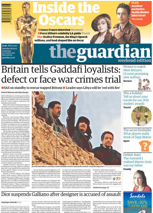 Libya: UK officials tell Gaddafi loyalists to defect or face war crimes trial Lord Oakeshott: make banks declare corporation tax John Galliano suspended by Dior after claims of antisemitic rant